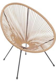 Cadeira Acapulco- Natural & Preta- 85X69X50Cm- Oor Design