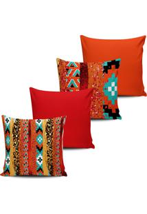 Kit 4 Capas Almofadas Etnica Asteca Laranja E Vermelho 45X45 - Multicolorido - Dafiti