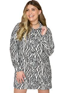 Camisão Vestido Animal Print Sislla Zebra