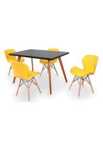 Conjunto Mesa De Jantar Gih 120X80Cm Preta Com 4 Cadeiras Slim - Amarelo