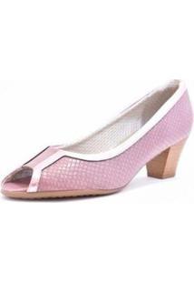 Sapato Peep Toe Piccadilly Feminino - Feminino-Lilás
