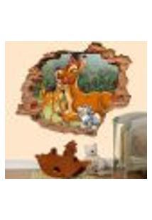 Adesivo De Parede Buraco Falso 3D Infantil Bambi - P 45X55Cm