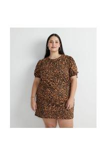 Vestido Curto Em Algodão Com Estampa Animal Print Onça Curve & Plus Size