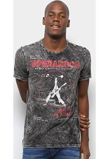 Camiseta Opera Rock Marmorizada Dupla Face Masculina - Masculino-Preto