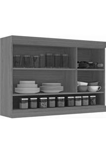 Armario Suspenso De Cozinha 2 Portas E Nichos 120Cm Cozinha Nápole Movelbento Rústico/Branco