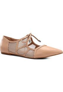 Sapatilha Couro Shoestock Bico Fino Tela Feminina - Feminino-Bege