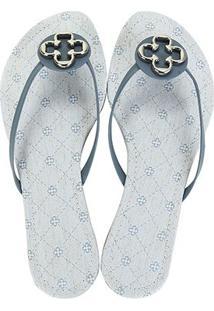 Chinelo Capodarte Jeans Delave Feminino - Feminino-Azul