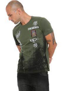 Camiseta Gangster Estampada Verde