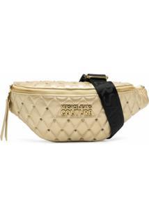 Versace Jeans Couture Pochete Com Efeito Metálico E Tachas - Dourado