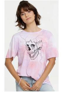 Blusa Feminina Caveira Tie Dye Manga Curta Marisa