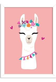 Quadro Decorativo Infantil Lhama Menina Rosa Branco - Médio