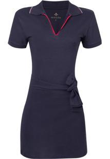 Vestido Polo Mc Piquet Liso (Azul Marinho, Pp)