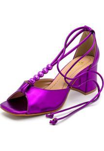 Sandália Feminina Salto Baixo Retro Bico Quadrado Em Roxo Metalizado