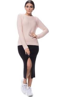 Blusa Logan Tricot Friz Na Frente Enas Mangas - Feminino-Rosa Claro