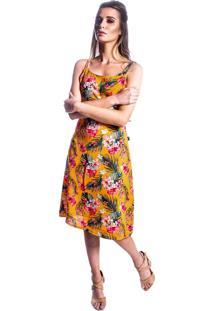 Vestido Carbella Floral Amarelo Crepe