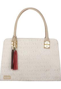 Bolsa De Mão Em Couro Texturizado - Off White - 36X2Di Marlys