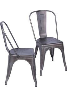 Jogo De Cadeiras De Jantar Retrã´- Bronze- 2Pã§S- Or Design