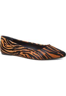 Sapatilha Couro Shoestock Bico Fino Pelo Zebra Feminina - Feminino-Zebra