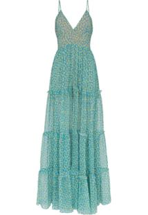 Amiri Vestido Longo Em Seda Estampada - Azul