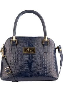 Bolsa Andrea Vinci De Mão Em Couro Donna Azul Marinho