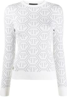 Philipp Plein Blusa Mangas Longas De Tricô Com Estampa De Logo - Branco