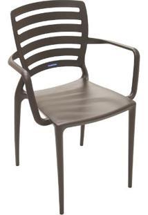 Cadeira Sofia Com Braço Encosto Horizontal Marrom Summa - Tramontina