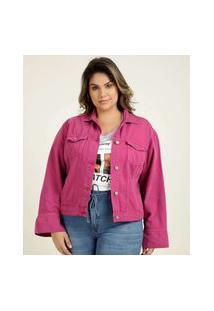 Jaqueta Plus Size Feminina Sarja Bolsos