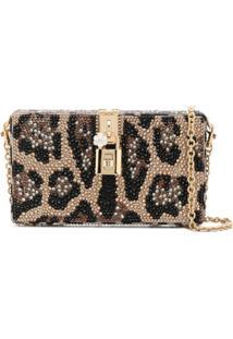 Dolce & Gabbana Bolsa Clutch Com Aplicação - Marrom