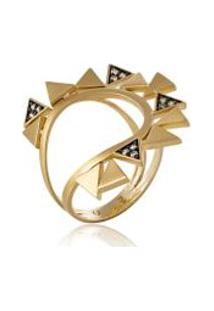 Anel Istambul Gold Ouro Amarelo Com Diamantes Chocolate - 17