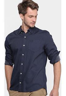 Camisa Social Lacoste Regular Fit Maquinetada Masculina - Masculino-Marinho