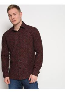 Camisa Super Slim Fit Abstrata- Preta & Vermelha- Foforum