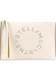 Stella Mccartney Large Perforated-Logo Clutch - Branco