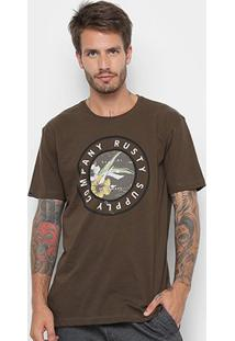 Camiseta Rusty Silk Trade Masculina - Masculino-Marrom