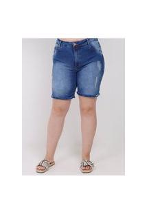 Bermuda Jeans Plus Size Feminino Azul