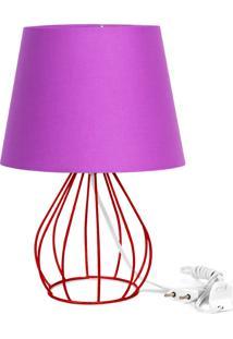 Abajur Cebola Dome Roxo Com Aramado Vermelho - Roxo - Dafiti