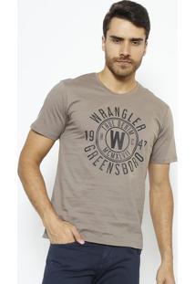 "Camiseta ""Wâ®""- Marrom & Cinza Escuro- Wranglerwrangler"
