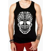 Camiseta Regata Criativa Urbana Caveira Mexicana Tribal - Masculino-Preto 33dae925605