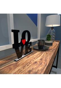 Escultura De Mesa Love Em Mdf Preto Com Coração Vermelho Único