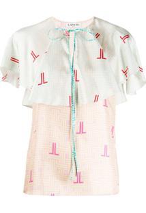 Lanvin Blusa Com Estampa De Logo Gráfico - Rosa