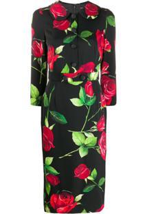 Dolce & Gabbana Vestido Lápis Com Estampa De Rosa - Preto