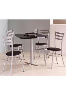 Conjunto De Mesa Quadrada Com 4 Cadeiras - Estrutura Em Aço Cinza/Preto