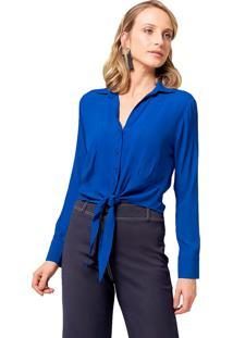 Camisa Mx Fashion Viscose Amarração Lira Azul Royal