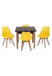 Conjunto Mesa De Jantar Luiza 80Cm Preta Com 4 Cadeiras Leda - Amarelo