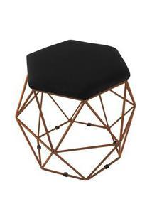Puff Aramado Bronze Assento Hexagonal Suede Preto - Ds Móveis