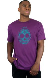 Camiseta Bleed American Sugar Skull Roxo