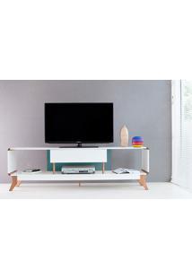 Rack Tv Retrô Vintage Branco/Azul Prestage 1 Gaveta 1,8M Mdf Com Pés Madeira Cor Jatobá - 180X40X55 Cm
