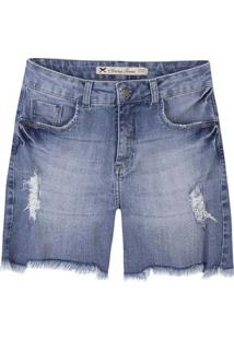 Bermuda Jeans Feminina Em Algodão Com Barra Assimétrica Desfiada