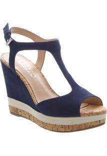 Sandália Plataforma Em Couro Com Fivela- Azul Marinhoarezzo & Co.