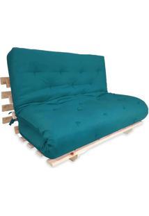 Sofa Cama Casal Futon Oriental Azul Royal Com Madeira Maciça.