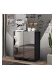 Aparador Cantinho Do Café Com Espelho E Pés Quadrados 2 Portas Multimóveis Preto